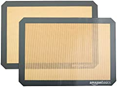 2 non-stick silicone baking mats for easy and convenient baking No need for oil, cooking sprays, or parchment paper Oven-safe up to 480 degrees F Fits half-sheet size pans; easy to clean Each baking mat measures approximately 11.6x16.5 inches (LxW)