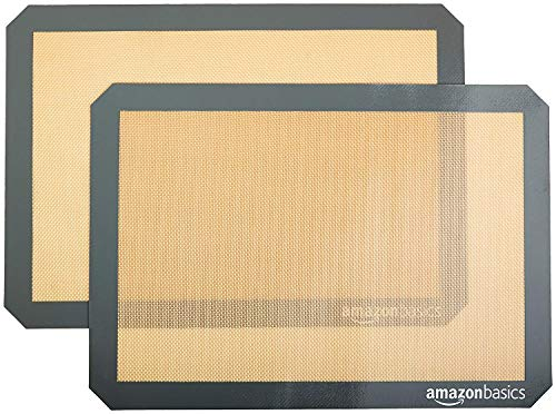 AmazonBasics Silicone, Non-Stick, Food Safe Baking Mat - Pack of 2