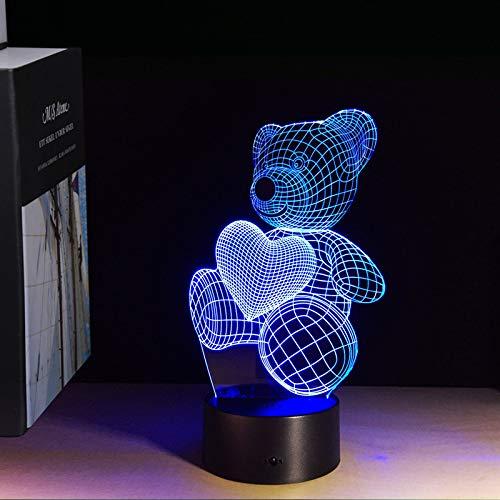 Illusion 3D lampe 7 couleur changeante acrylique nuit de lumière LED art sculpture sculpture salle décoration chargeur usb,cadeaux assez cool cadeaux anniversaire,vacances,Saint Valentin,ours coloré