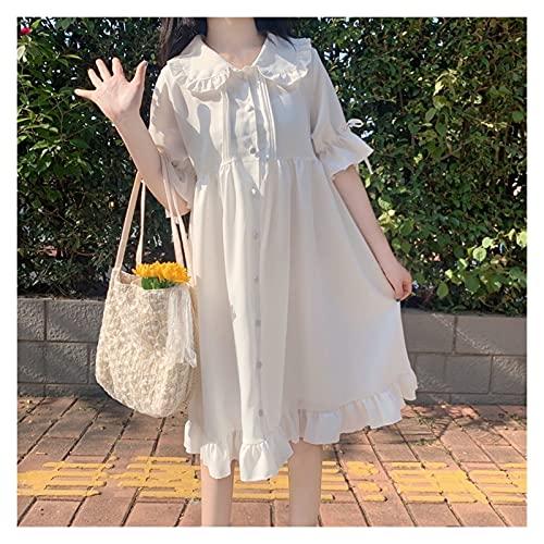 Shenme Vestido de Cuello de muñeca Dulce japonés para Mujer Mujeres gótico Victorian Kawaii Vestidos Diarios Disfraces de Fiesta (Color : White, Size : One Size)