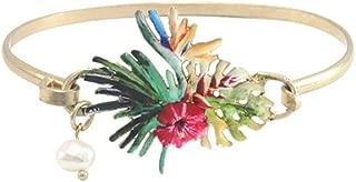 Wonderent Colorful Tropical Flower Fashion Bangle Bracelet