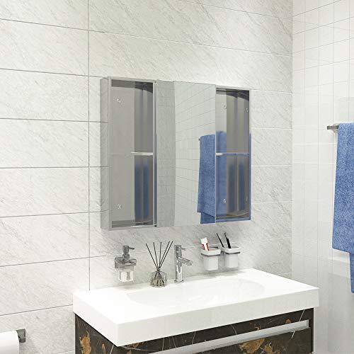 Qiyang 700 x 600 mm Badezimmerschrank aus Edelstahl mit Regalen Verspiegelter Medizinschrank mit Soft-Close-Scharnier Aus umweltfreundlichem kupferfreiem Spiegel