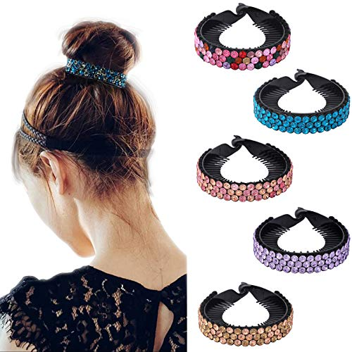 Rhinestone Hair Clip for Women - 5Pack Half-balloon Nest Expanding Hairpin Girls Hair Claws Hair Bun Holders Accessories (mixed 5 color-2)