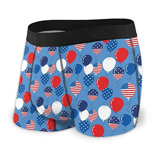 Yuanmeiju Mens Boxer Shorts Fitted Bragas Patriotic Balloon American Flag Trunks Quick Dry Ropa Interior