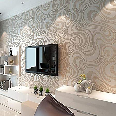 KeTian Modern Luxury 3D Abstract Curve Wallpaper Non-Woven Flocking Strips for Living Room/Bedroom Wallpaper Roll 0.7m (2.29' W) x 8.4m (27.56' L) = 5.88㎡ (63.11 sq.ft) (Cream&Silver&Gray)