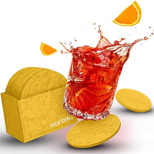 wortek - Sottobicchieri rotondi in feltro gialli, con scatola, lavabili, design in feltro, bevande, tazze, set da 10 sottobicchieri in feltro da 10 cm