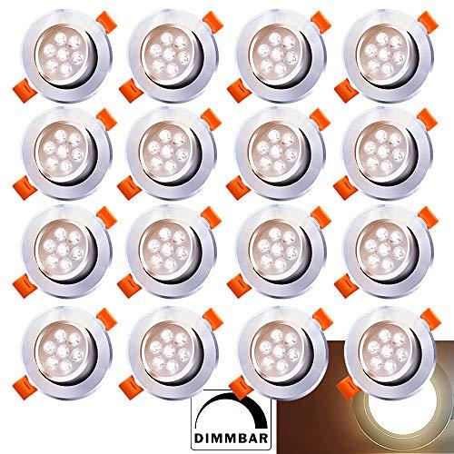 Hengda 20X LED Einbaustrahler Dimmbar 7W 230V Dimmbar Einbauleuchte Warmweiß 3200K LED Deckenstrahler Wohnzimmer Deckeneinbauleuchte Schlafzimmer Deckenleuchte