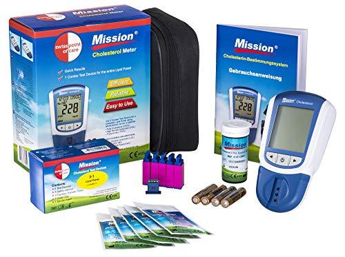 Swiss Point Of Care Mission 3 in 1 Starterpack | Set mit 1 Mission Cholesterin Messgerät, 5 Cholesterin Teststreifen, 5 Kapillarröhrchen, 5 Punktierhilfen | Cholesterinmessung ganz einfach zu Hause
