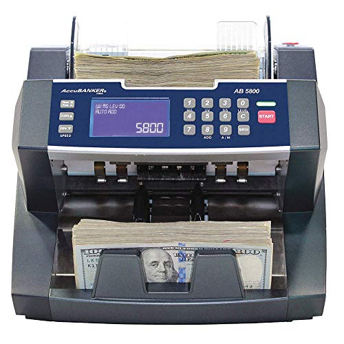 AccuBANKER Bank Grade Value Extension Bill Counter AB5800 Money Counter Machine with Total Value Per Denomination Hopper…