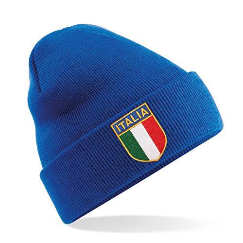 Unisex-Erwachsene Vintage bestickt Italienisches Wappen Italien Italia Rugby Winter Beanie Mütze von Print Me A Shirt in Royal Blau Gr. One size, königsblau