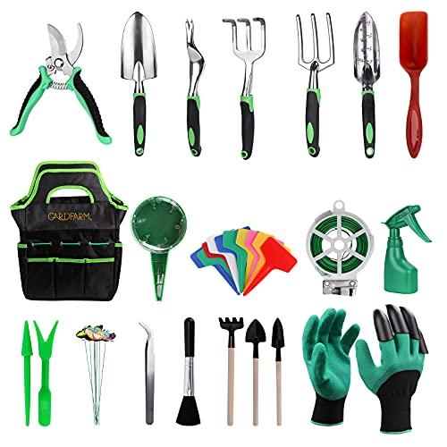 Herramientas Jardinería acero inoxidable, 37 piezas Juego de Herramientas de Jardín, Alta dureza kit jardinería con bolsa de almacenamiento duradera para regalo de hombres y mujeres