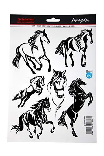 Avisa 5in1 Autoaufkleber Autotattoo Pferd Mustang 19x28cm Schwarz 1/07176