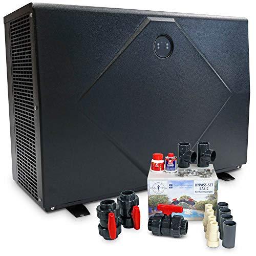 POOL Total LAJA26 Full Inverter-Wärmepumpe Wi-Fi- Super leise Poolheizung, Wärmetauscher aus Titan für Chlor,- Brom oder Salzwasser geeignet 16,1kW- inkl. Bypass