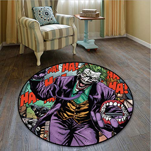 lili-nice Anime Suicide Squad Joker Alfombra Redonda Alfombra De Piso Dormitorio Habitación para Niños Alfombras Antideslizantes Alfombra De Juego para Niños Alfombra para Silla De Computadora 140 Cm