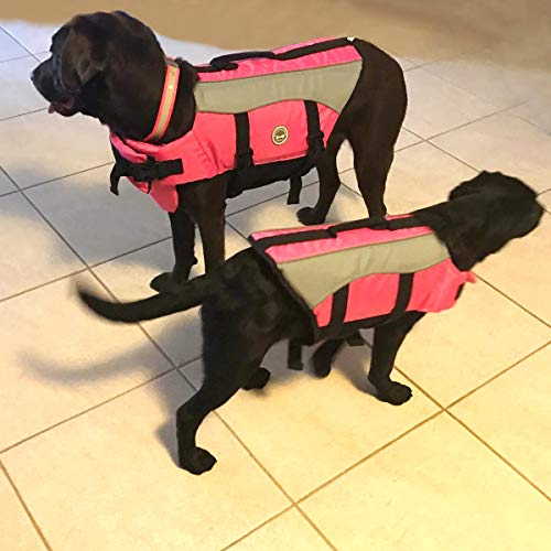 Vivaglory Dog Life Jackets with Extra Padding for Dogs, Medium - Pink
