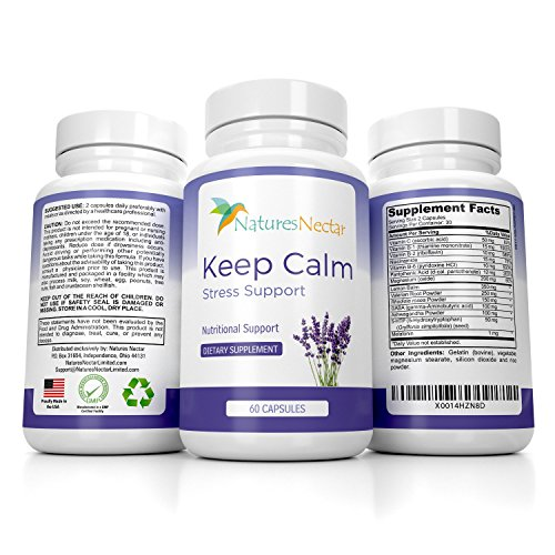 Keep Calm - Anti Anxiety Relief Supplements Formulated For Natural Anxiety Relief - Helps Fight Panic Attacks With A Calming Joy Filled Cortisol Boost - Anti Stress Supplement &Amp; Stress Relief Pills
