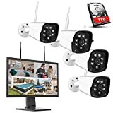 Thinlerain Wireless Outdoor Home Security Camera System, 21.5inch 1080p TN Monitor, 1TB Hard Drive, 4Pcs 3MP HD, Night Vision, IP66 Waterproof, Motion Alert, Remote View, CCTV Camera Security System