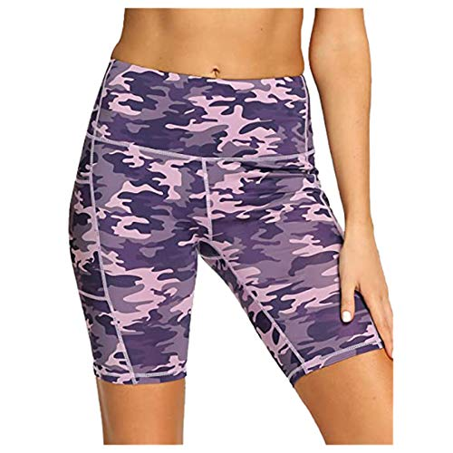 ManRiver Womens High Waist Yoga Shorts Pants, Camouflage Printed Sports Compression Home Gym Exercise Capris Pant