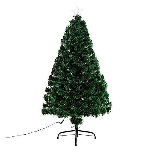 homcom Albero di Natale Artificiale con 130 Rami in Fibra Ottica e PVC e 16 luci LED Φ60 x 120cm