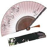 Abanico plegable OMyTea con diseño chino/japonés retro y con funda protectora de tela, marrón