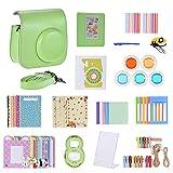 Andoer - Kit de accesorios 14 en 1 para Fujifilm Instax Mini 9/8 +/8 con carcasa, correa, adhesivo, selfie Lens, filtro, álbum de película Frame, esquinas autoadhesivas, bolígrafo, verde limón.