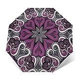 Paraguas Plegable Automático Impermeable Mandala Floral 89, Paraguas De Viaje Compacto a Prueba De Viento, Folding Umbrella, Dosel Reforzado, Mango Ergonómico