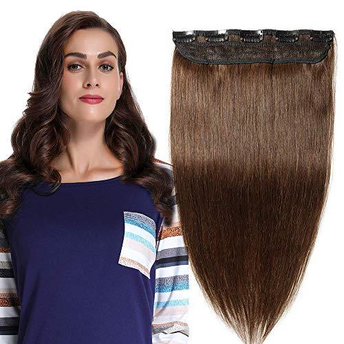 Clip in extensions echthaar 100% Remy Echthaar 1 Stück 5 Clips Haarverlängerung (40cm-45g #4 mittelbraun)