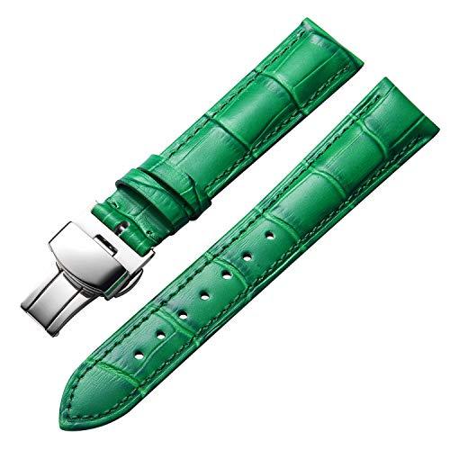 Banda de Reloj de Cuero Genuino Correa de cocodrilo de Repuesto para Unisex con Hebilla de despliegue de Mariposa de Plata/Oro/Oro Rosa 12mm 13mm 14mm 16mm 17mm 18mm 19mm 20mm 21mm 22mm 23mm 2