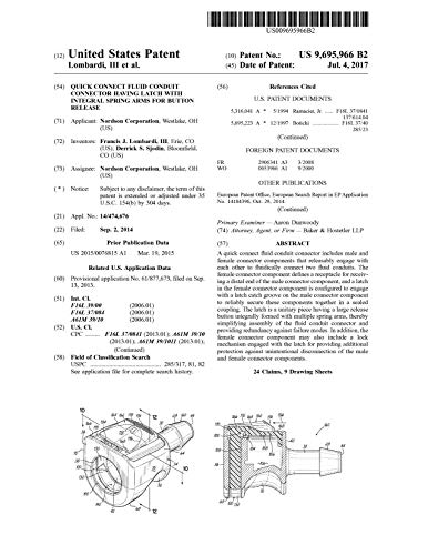 Quick connect fluid conduit connector having latch with integral spring arms for button release: United States Patent 9695966 (English Edition)