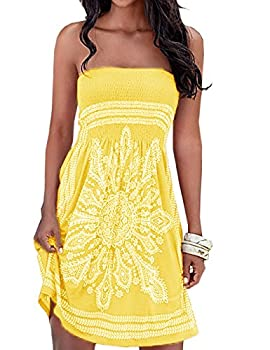 SEMATOMALA Women s Summer Dress Strapless Floral Print Bohemian Casual Beach Dress Cover Ups for Swimwear Women YE,L