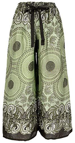 GURU SHOP Palazzohose, Schlaghose, Sommerhose, Hippie Goa Hose, Damen, Olive, Synthetisch, Size:38, Lange Hosen Alternative Bekleidung