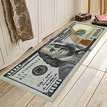 Adarl New Rugs One Hundred Dollar  $100  Bill Print New Benjamin Non-Slip Area Rug Runner for Living Room Bedroom - 71x24inch