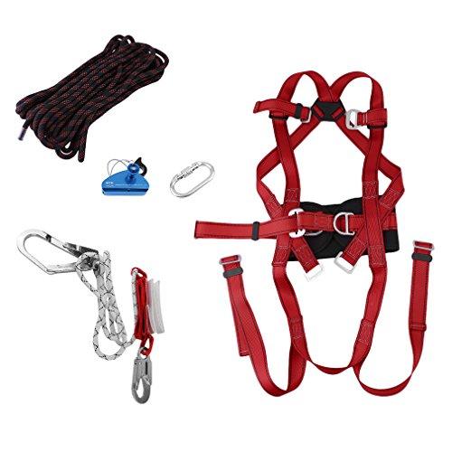 Fallschutzausrüstungen, Auffanggurt mit 1 Klettersteiggürtel + 1 Seil + 1 Bergsteigerschnalle + 1 Arbeitsschutzseil + 1 Kletterseilschließvorrichtung, rot