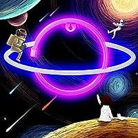 PHLPS 惑星ネオンライトサイン、惑星ネオンサインLEDナイトライト、ネオンライトUSB充電、バッテリー操作ネオン壁ライトネオン装飾ライト