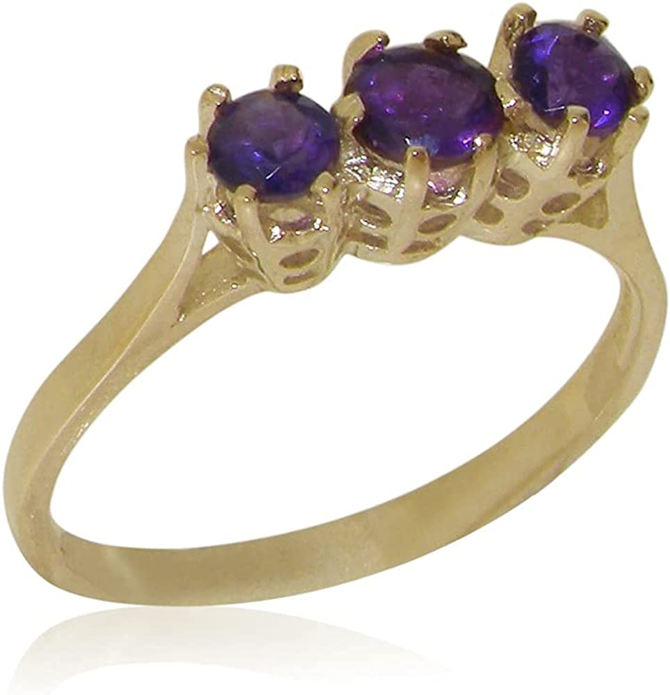 10k Yellow Gold Natural New products world's highest quality popular Amethyst Womens Ring Don't miss the campaign t Sizes - 4 Trilogy