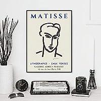 抽象線肖像画ポスターHenri Matisse北欧壁アートパネル版画ミニマリストキャンバス絵画インテリア黒線画像寝室リビング ルーム部屋モダン装飾画