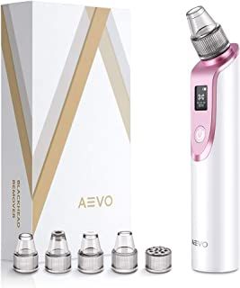 AEVO Blackhead Remover Vacuum, Electric Facial Pore Removal Extractor Kit with 5 Replaceable Heads, [Adjustable Suction] [LED Display] [USB Rechargeable], Beauty Device for Skin Treatment