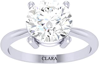 Clara 92.5 Sterling Silver White Gold Plated Round Brilliant Diamond Cut Zirconia Solitaire Ring for Women & Girls