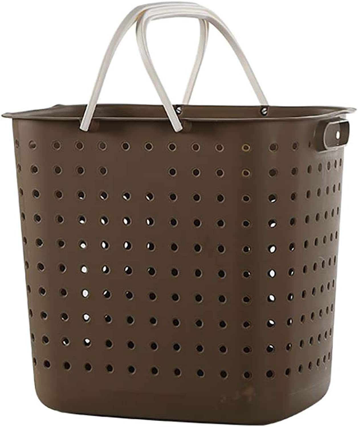FANGFA Storage Baskets Plastic Bedroom Bathroom Clothes Toy Laundry Basket with Handle (4 colors are Optional) (color   Brown, Size   43  31  38cm)