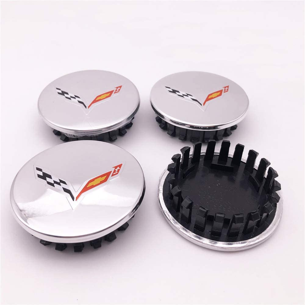 67mm Chrome Car Max 89% OFF Hub Wheel Outstanding Center Cap with Flags for Corv Crossed