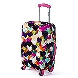 スーツケースカバー 耐久性のある 伸縮素材 高弾性 荷物カバー スーツケースのキャリア ケース保護 新しい カラフルなハート Mサイズ