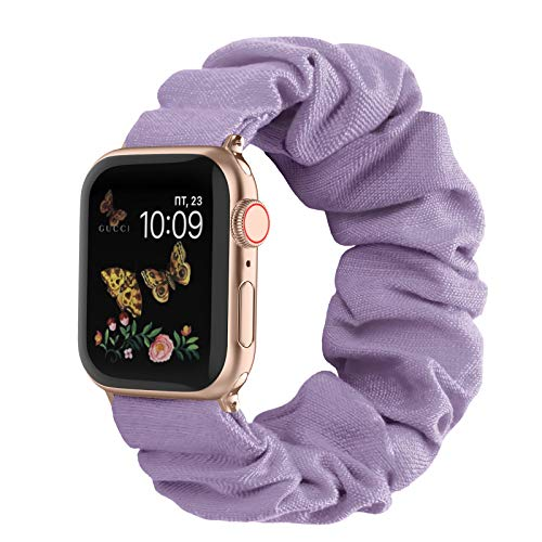Recoppa Compatible with Scrunchie Apple Watch Bands 38mm 40mm 42mm 44mm Stretchy Elastic Strap Band Pattern Printed Women Bracelet Wristband for Apple iWatch SE/6/5/4/3/2/1(Lavender, 38mm/40mm S/M)