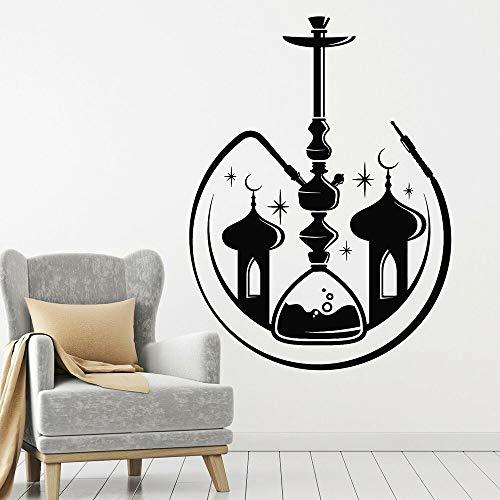 Adhesivos Pared Pegatinas de Pared Vinilo Hookah Bar árabe Humo Fumar Shisha Mezquita para Sala de Estar decoración de salón Papel Tapiz 84x62cm