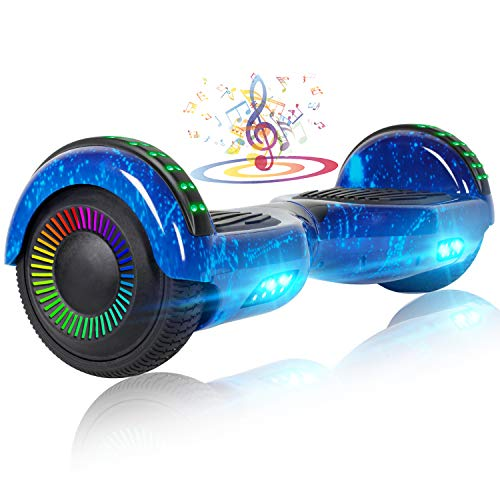 """UNI-SUN 6.5"""" Hoverboard for Kids, Two Wheel Self Balancing Hoverboard with Bluetooth and LED Lights for Adults, UL 2272 Certified Hover Board, Star Blue"""