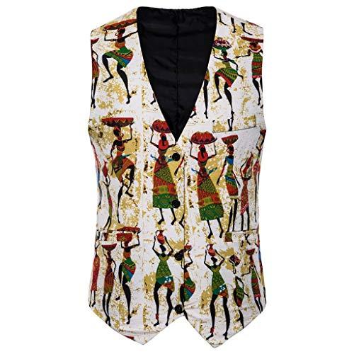 Heren pak vest Dasongff Casual Boho etnische stijl print vest vintage slim fit vesten