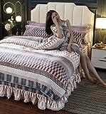 juegos de sábanas infantiles 105-Falda de cama cálida de invierno juego de cuatro piezas de terciopelo de leche de franela sábana de terciopelo de cristal funda nórdica funda de almohada juego de cua