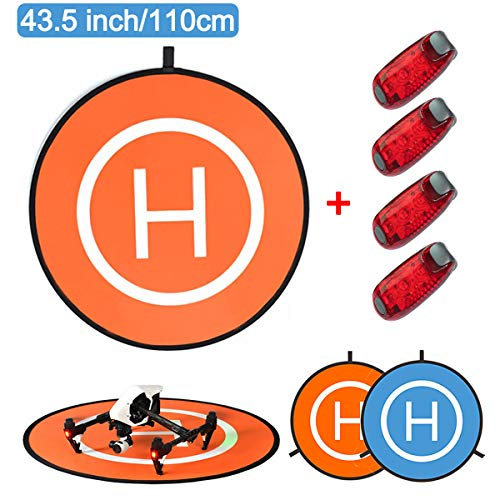 O'woda 110cm Drones Landing Pad + 4 luces LED Universal Waterproof RC...