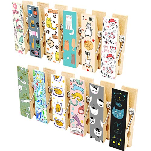12pcs Refrigerator Magnet Clips by Cosylove-Decorative Magnetic Clips Made of Wood with Beautiful Patterns–Super Fridge Magnets for House Office Use - Display Photos,Memos, Lists, Calendars (Cat)