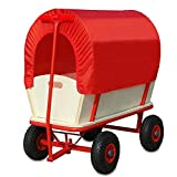 Deuba Carro para Jardin de Madera Carretilla con Techo Rojo Carga hasta 180Kg de Transporte jardinería para Exterior