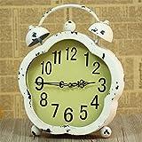 GREA Clásico Antiguo Reloj de Escritorio Retro intage Alarma Doble Campana Retroiluminación Silencio Movimiento de Cuarzo Mesa Decorativa-Blanco